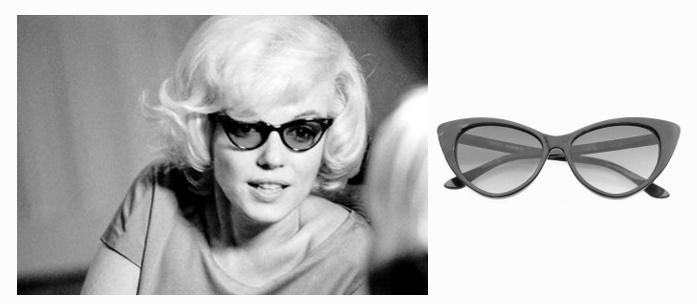 Marilyn Monroe kedvenc Cat Eye napszemüvegében