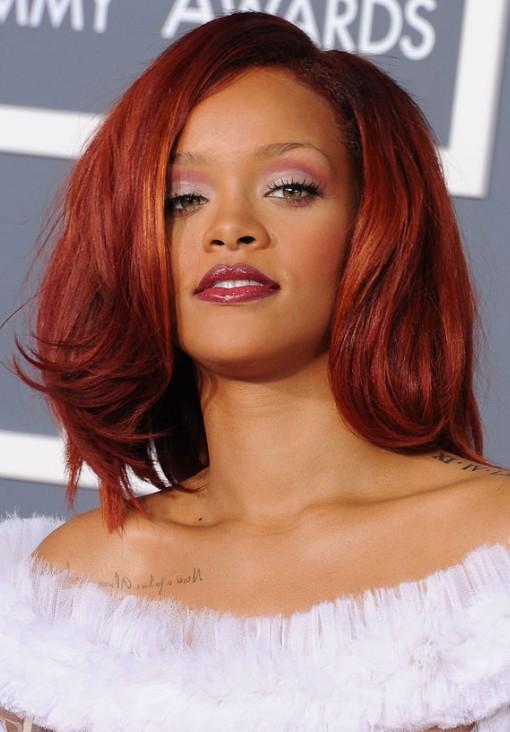 Rihanna-Medium-Cherry-Red-Hairstyle
