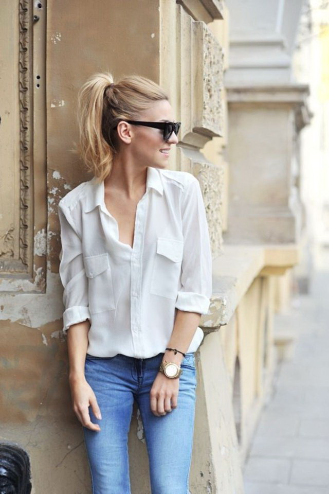 white-button-down-shirt-and-blue-jeans