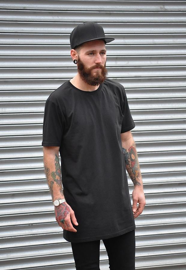 gone-retro-mens-plain-black-long-tall-extended-oversize-t-shirt-top-tee-size-xl-9404-p