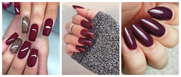 burgundy-nails-winter-red