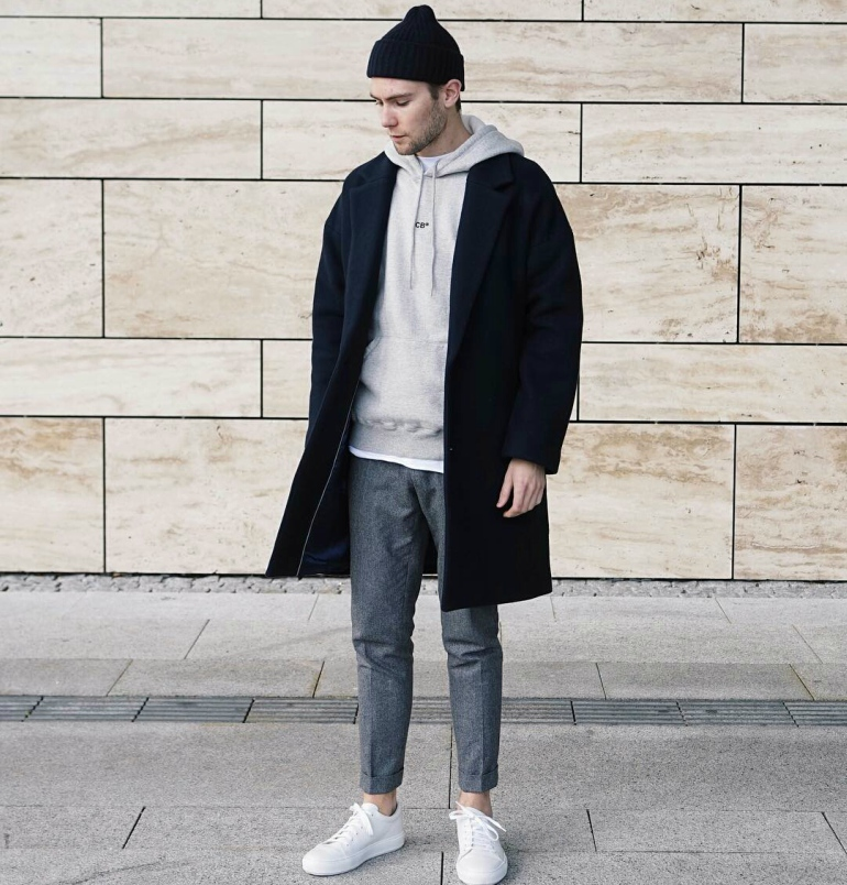 Fredrik-risvik-grey-hoodie-black-coat-mens-street-style - BeautyFY