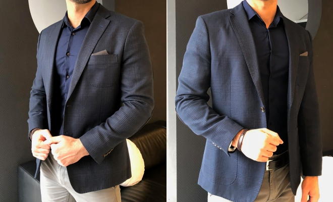5f0eda2ffd A patentra igazított zakó balra egy hagyományos, regular fit inggel, jobbra  egy rövidebb, slim fit verzióval.